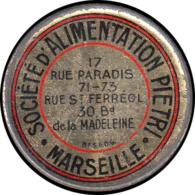 """FRANCE Timbres Monnaie FP - 140, 25. Semeuse Bleu, Fer Peint, Fond Rouge: """"Alimentation Piétri - Marseille"""" - Autres"""