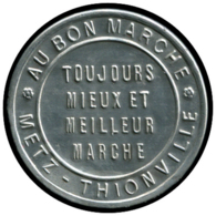 """FRANCE Timbres Monnaie ALU - 138, 10c. Rouge Semeuse, Aluminium, Fond Bleu, Non Répertorié Broustine: """"Au Bon Marché - M - Autres"""