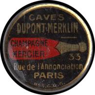 """FRANCE Timbres Monnaie FP - 140, 25c. Bleu Semeuse, Fer Peint, Fond Rouge: """"Caves Dupont Merklin - Paris"""". Illustré D'un - Autres"""