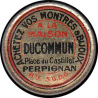 """FRANCE Timbres Monnaie FP - 137, 5c. Vert Semeuse, Fer Peint, Fond Rose: """"Montre Ducommun - Perpignan"""". (RR) - Autres"""