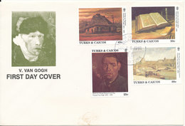 Turks & Caicos FDC 26-8-1991 Vincent Van Gogh ART Painting Set Of 4 With Cachet - Turks And Caicos