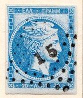 GRECE (Royaume) - 1870 - N° 32 - 20 L. Bleu-ciel Clair - (Tête De Mercure) - (Avec Chiffre Au Verso) - 1861-86 Hermes, Gross