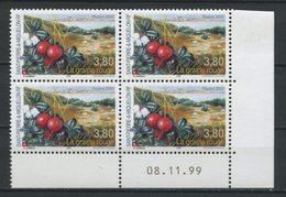 SPM Miquelon 2000 N° 710 ** Bloc De 4 Coin Daté Neuf MNH Superbe C 10 € Flore La Graine Rouge Flora Fruits - Unused Stamps