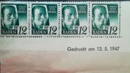 All. Bes. 12 Pf Baden Mit Druckdatum 12.05.1947 Mi.Nr.:4yv Br *  Unused Mi.:  8,00€ - Französische Zone