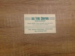 Carte De Visite De Restaurant   Aux Trois Chevrons   Paris 15eme - Cartoncini Da Visita