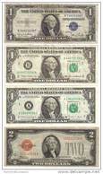 Usa 1  $ 1935 D BOLLINO BLU + 1985 + 1988 A + 2 $ 1928 D BOLLINO ROSSO LOTTO 712 - Small Size - Tamaños Pequeños (1928-...)