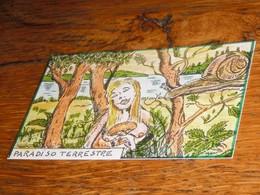 Carte Escargot Champignon Eve Paradis Terrestre - Old Paper