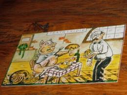 Carte Escargot Champignon Cochon Restaurant Serveur - Old Paper