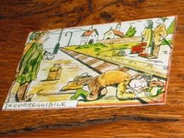 Carte Escargot Champignon Rails Village Bagages Quai Voyageurs - Old Paper