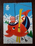 L22/1176 JO D'hiver 1968 . Mascotte Dof Le Dauphin . Feutrine Rouge . Illustrateur M.Chevalier - Grenoble