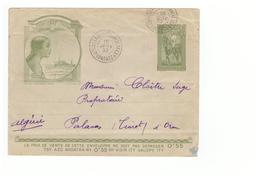 Madagascar Entier Postal 50 Centimes Lettre Enveloppe TSF Cachet Tananarive 1933 - Madagascar (1889-1960)