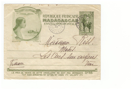 Madagascar Entier Postal 50 Centimes Lettre Enveloppe TSF Cachet Tananarive 1932 (sans Rayon De Soleil) - Madagascar (1889-1960)