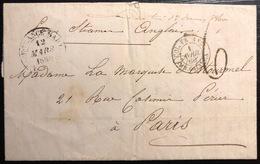 Martinique Lettre Du Francois Pour Nantes 1860 Taxée, Dateur De Fort De France + Manuscrit Du Passage Au Lamentin RR - Martinique (1886-1947)