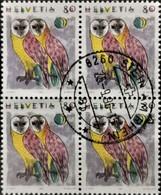 1991 Tiere ; Schleiereule Viererblock MiNr: 1437 - Switzerland