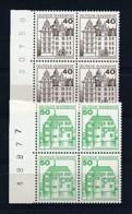 GERMANY Mi. Nr. 1037-1038 A Freimarken: Burgen Und Schlösser - Bogennummer, Viererblock  - MNH - Ungebraucht