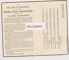 DOODSPRENTJE VANPOUCKE MARIE WEDUWE VANDENBULCKE LICHTERVELDE ZWEVEGEM 1872 - 1953    BEWERKT TEGEN KOPIEREN - Images Religieuses