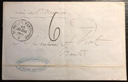 Martinique Lettre St Pierre Pour Nantes 1864 Taxée, Dateur De St Pierre Martinique Voie De St Nazaire Manuscrit TTB - Martinique (1886-1947)
