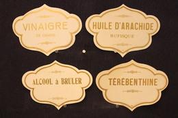 A.V.B.2 / Distillerie Stokerij - 4 Etiquettes -  Vinaigre De Grains, Térébenthie, Huile D'Arachide, Alcool à Bruler - Autres