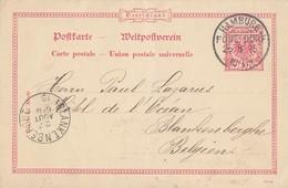 DR Ganzsache KOS Hamburg Pöseldorf 26.8.95 Gel. Nach Blankenberghe Belgien - Brieven En Documenten