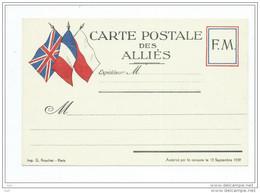 Militaria.CARTE POSTALE Des ALLIES 3 Drapeaux  -F.M FM  Franchise Militaire.Imprimerie G.Rouchet  (Guerre ) - Militaria