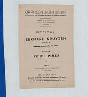 Program - Portugal - Orpheon Portuense - 18 Dezembro 1964 - Bernard Kruysen - Programs