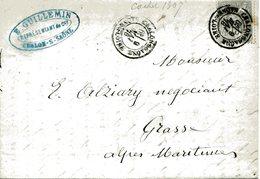 CHALON SUR SAONE SAONE ET LOIRE 9 Mai 1878 Cachet Type 18 Sur Timbre 15c Sage. Au Verso Cachet Bureau De Passe 1307 - Storia Postale