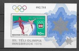 1976 MNH Hungary,  Mi Block 116A Postfris** - Invierno 1976: Innsbruck