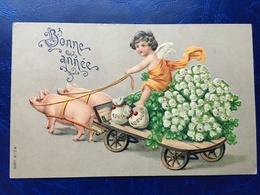"""Gaufrée-Embossed-""""Ange-attelage Cochons """"-(my Ref 386)-1909 - Anges"""