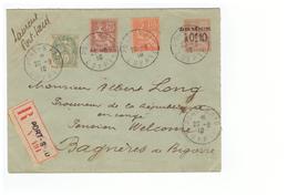 Port Said Entier Postal Surchargé Taxe Reduite à 0f10 Lettre Recommandée Pli Recommandé Cachet 1910 - Storia Postale