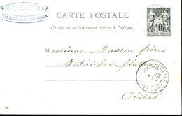 89 - CP1 De Fontaine Le Bourg (76) à Oissel (76) - 22-12-1896 (Masson Frères - Matéreil De Filature)) - Postal Stamped Stationery