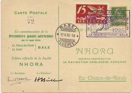Aviation - NHORA -  1ère Poste Aérienne - La Chx-de-Fds - Bâle - 1926 - Aviation