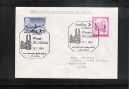 Austria / Oesterreich 1986 AUA First Flight Wien - Barcelona - Premiers Vols AUA