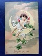 """Gaufrée-Embossed-""""Ange Assit Sur La Lune """"-(my Ref 395)-1908 - Anges"""