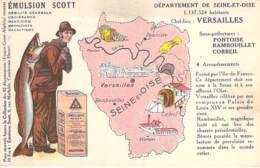 PUBLICITE Pub - Emulsion SCOTT ( Huile De Foie De Morue ) Avec Plan De La Ville De VERSAILLES (78) CPA Yvelines - Publicité