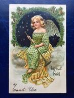 "Gaufrée-Embossed-""Joli Ange Féminin Blond Avec Trompette ""-(my Ref 398)-1905 - Anges"