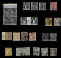 Lot9- Type Sage Tous SUP. Dont N°95, 104, 105, Oblit. , Nuances, Variétés Le 15c Timbres Trop Long ! - 1876-1898 Sage (Type II)