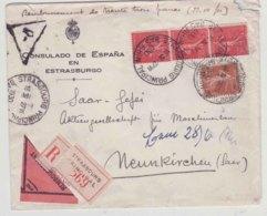 Lettre France 1930 Strasbourg Semeuse Consulado De Espana Estraburgo Pour Neunkirchen - 1921-1960: Modern Period