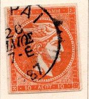 GRECE (Royaume) - 1876-82 - N° 49a - 10 L. Vermillon - (Tête De Mercure) - (Sans Chiffre Au Verso) - Gebraucht