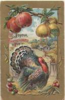 Carte Postale Ancienne/ Gaufrée Dorée/Joyeux THANKSGIVING/Dindon Et Pommes/USA/Canada/Vers 1910    CFA38 - Thanksgiving