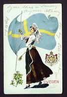 Sweden Patriotic Flag, Flower, Woman Ethnic Costume, Coat Of Arms - G. Howard Hilder Artist - New Haven Conn. 1907 - Illustrateurs & Photographes