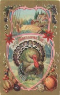 Carte Postale Ancienne/ Gaufrée Dorée/Joyeux THANKSGIVING/Dindon Et Pommes/USA/Canada/Vers 1910    CFA39 - Thanksgiving