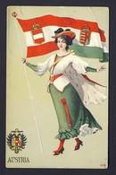 Austria Patriotic Flag, Woman Ethnic Costume, Coat Of Arms - G. Howard Hilder Artist - Illustrateurs & Photographes