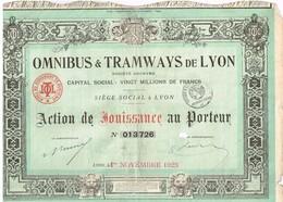 Titre Ancien - Omnibus & Tramways De Lyon - Société Anonyme   - Titre De 1928 - - Chemin De Fer & Tramway