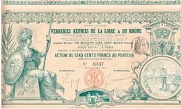 Titre Ancien - Société Anonyme Des Verreries Réunies De La Loire & Du Rhône - Titre De 1892 - Déco -  Imprimerie Richard - Industry