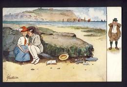 Man And Woman Sitting On Rocks On The Beach, Romance - L. Thackeray Artist - Tuck Oilette #9591 - 1910 Bruxelles - Humour