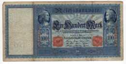 BILLET DE BANQUE ALLEMAGNE 1910 REICHSBANKNOTE 100 MARK   Janv 2020  Clas Gera - [ 2] 1871-1918 : German Empire