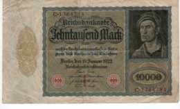 BILLET DE BANQUE ALLEMAGNE 1922 REICHSBANKNOTE 10000 MARK   Janv 2020  Clas Gera - 100000 Mark