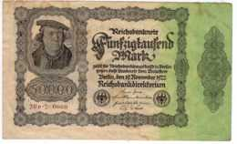 BILLET DE BANQUE ALLEMAGNE 1922 REICHSBANKNOTE 50000 MARK   Janv 2020  Clas Gera - 50000 Mark