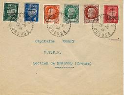 Timbres De La Libération - 22-8-44  Enveloppe De MEASMES ( Creuse ) Série Complète De 6 T P - Marcophilie (Lettres)
