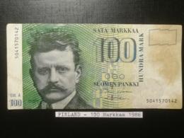 FINLANDE/Finland - 100 Markkaa 1986 (Litt. A) - Finlande
